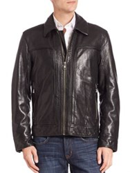 Andrew Marc New York Long Sleeve Shirt Collar Leather Jacket Jet Black