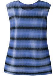 Issey Miyake Pleats Please By Striped Tank Top Women Polyester 3 Blue