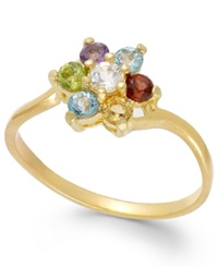 Victoria Townsend Multi Stone Flower Ring In 18K Gold Over Sterling Silver 1 3 Ct. T.W.