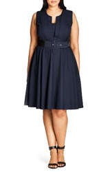 City Chic Plus Size Women's Vintage Veronica Belted Pleat Fit And Flare Dress
