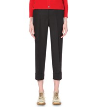 Thom Browne Slim Fit Tapered Mohair Blend Cropped Trousers Black