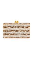 Edie Parker Jean Striped Clutch Nude Pearlescent Sand