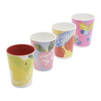 Joules Hollyhock Meadow Garden Cups Set Of 4 Yellow Floral