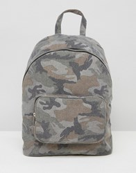 Asos Camo Canvas Backpack Multi