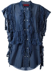 Di Liborio Frayed Oversized Sleeveless Jacket Women Silk 40 Blue