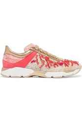 Rene Caovilla Embellished Leather Suede And Lace Sneakers Gold