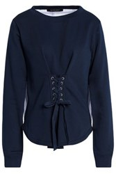 W118 By Walter Baker Isabella Lace Up French Terry And Cotton Blend Poplin Sweatshirt Midnight Blue