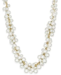 Charter Club Gold Tone Imitation Pearl Cluster Necklace