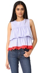 English Factory Sleeveless 2 Tier Ruffle Top Blue Stripes
