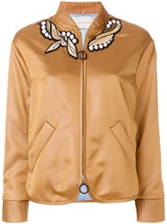 Marco De Vincenzo Embroidered Bomber Jacket Triacetate Polyester Brown