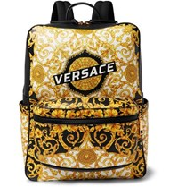 Versace Printed Full Grain Leather Backpack Black