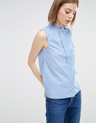 Warehouse Ruffle Detail Sleeveless Shirt Blue
