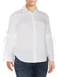 Lea And Viola Plus Bell Sleeve Blouse White