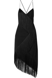 Givenchy Asymmetric Fringed Wool Crepe Wrap Effect Midi Dress Black