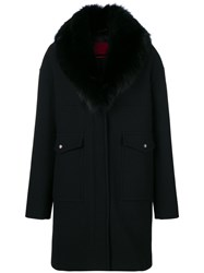 Moncler Gamme Rouge Long Fur Stole Coat Silk Feather Down Fox Fur Virgin Wool Black
