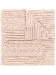 N.Peal Wide Cable Scarf Nude And Neutrals