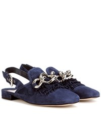 Miu Miu Slingback Loafer With Fringe Blue