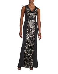 Calvin Klein Sequined Mesh Accented Gown