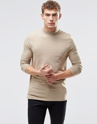 Asos Muscle Long Sleeve T Shirt With Turtle Neck In Biege Silver Mink