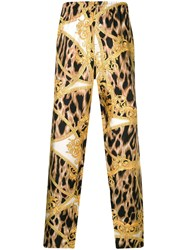 Versace Leopard Baroque Print Trousers Yellow