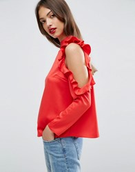 Asos Satin Top With High Neck And Ruffle Cold Shoulder Red