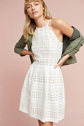 Anthropologie Lace Halter Mini Dress White