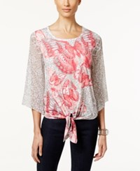 Jm Collection Embellished Printed Tie Front Top Only At Macy's