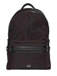 Dolce And Gabbana Printed Nylon And Leather Backpack Dark Burgundy