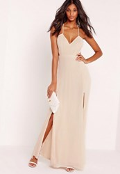 Missguided Strappy Cut Out Maxi Dress Nude Champagne