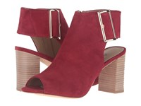 Vaneli Bisa Red Suede Gold Buckle High Heels