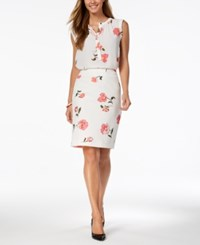 Nine West Printed Button Front Blouse Created For Macy's Bubble Gum