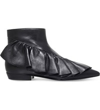 J W Anderson Ruffle Leather Booties Black