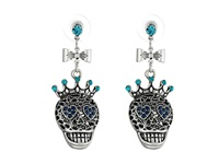 Betsey Johnson Torsade Enhancers Skull Crop Earrings Blue Silver Ox Earring