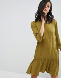 Minimum Drop Peplum Dress Winter Olive Green