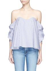 Caroline Constas 'Gabriella' Stripe Bustier Off Shoulder Top Blue