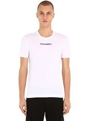 Dolce And Gabbana Logo Embroidered Cotton Jersey T Shirt White