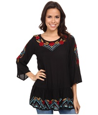Scully Camila Embroidered Top Black Women's Blouse