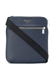 Emporio Armani Logo Plaque Messenger Bag Blue