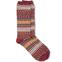 Anonymous Ism Fair Isle Crew Sock Wine
