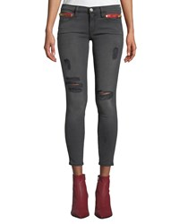 Etienne Marcel Distressed High Rise Skinny Ankle Jeans With Zipper Details Dark Gray