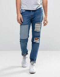 Waven Tapered Fit Jeans In Rip And Repair Blue