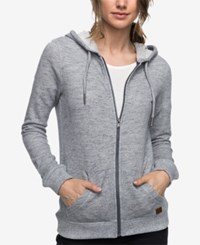 Roxy Juniors' Trippin French Terry Zip Front Hoodie Gray