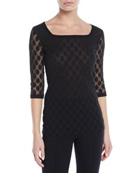 Fuzzi Dotted 3 4 Sleeve Top Black