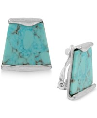 Robert Lee Morris Soho Silver Tone Turquoise Look Stone Clip On Stud Earrings