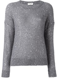 Saint Laurent Sequin Embellished Knit Jumper Grey
