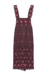 Luisa Beccaria Floral Embroidered Apron Midi Skirt