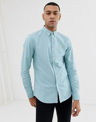 Farah Brewer Slim Fit Oxford Shirt In Turquoise Blue