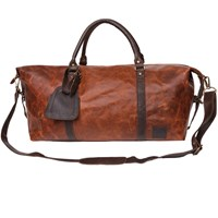 Mahi Leather Long Armada Duffle Large Weekend Overnight Holdall Bag In Vintage Brown With Mahogany Detail