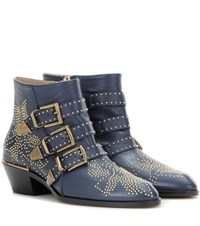 Chloe Susanna Studded Leather Ankle Boots Blue