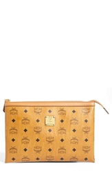 Mcm 'Heritage Medium' Coated Canvas Zip Pouch Cognac